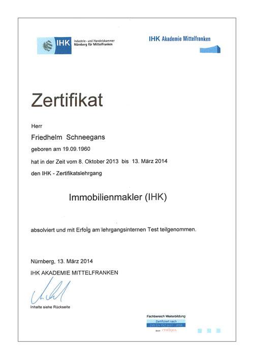 Immobilien- und Finanzierungscenter Schneegans - Zertifikat IHK