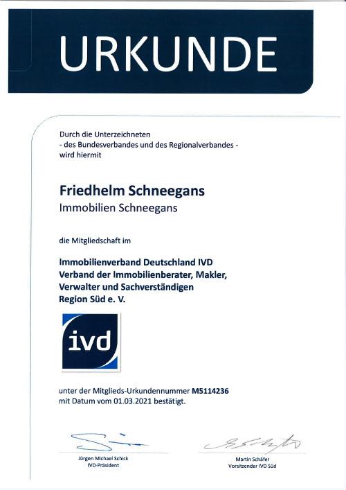 Immobilien- und Finanzierungscenter Schneegans - Urkunde IVD24